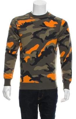 Valentino Cashmere Camouflage Crew Neck Sweater
