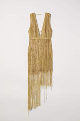 H&M Short Rhinestone Dress - Gold-colored - Women