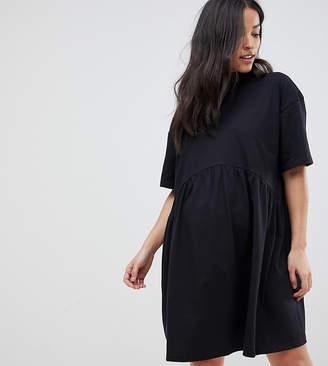 Asos DESIGN Maternity oversized mini cotton smock dress with high neck