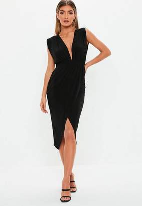 Missguided Black Wrap Plunge Sleeveless Midi Dress
