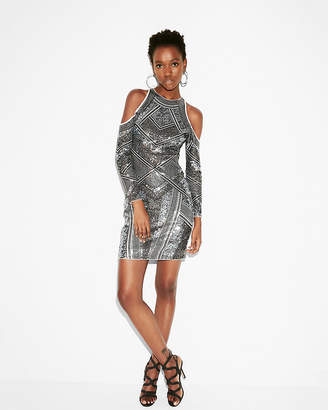 Express Sequin Cold Shoulder Sheath Dress