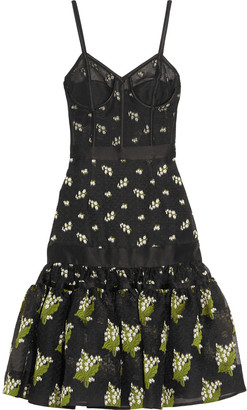 Alexander McQueen Satin-trimmed silk-blend jacquard and tulle dress $4,525 thestylecure.com