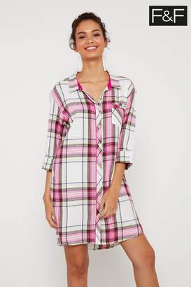 F&F Womens Pink/Cream Check Nightshirt - Pink