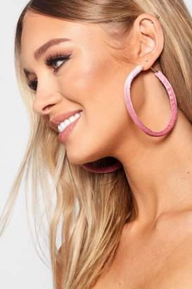 boohoo Pink Velvet Hoop Earrings