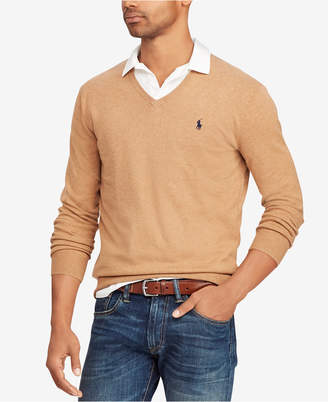 Polo Ralph Lauren Men's Big & Tall Cotton V-Neck Sweater