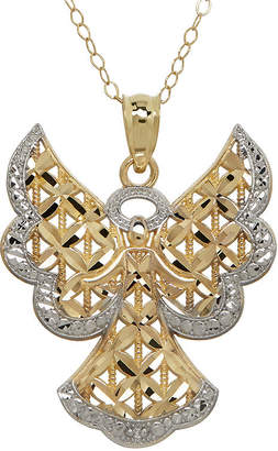 JCPenney FINE JEWELRY Diamond-Accent 10K Two-Tone Gold Angel Pendant Necklace