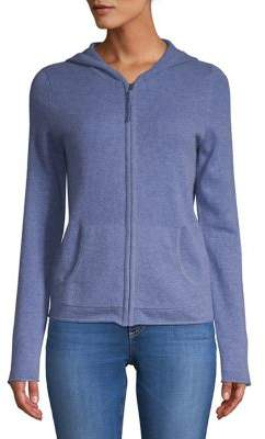 Lord & Taylor Solid Cashmere Zip Hoodie