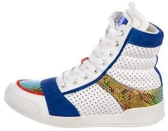 Balmain Metallic-Trimmed High-Top Sneakers w/ Tags