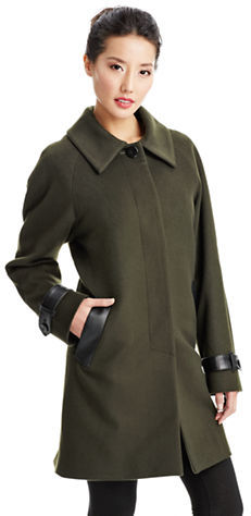 Sofia Cashmere Fly Front Wool Coat with Leather Trim