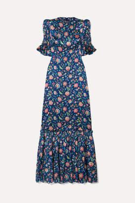 The Vampire's Wife The Night Flight Tiered Shirred Floral-print Silk-satin Maxi Dress - Navy