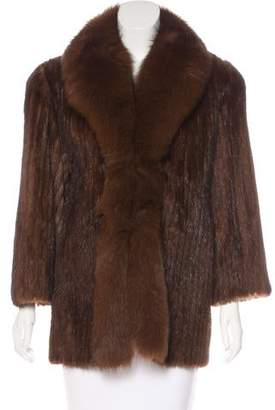 Mink & Fox Fur-Trimmed Coat