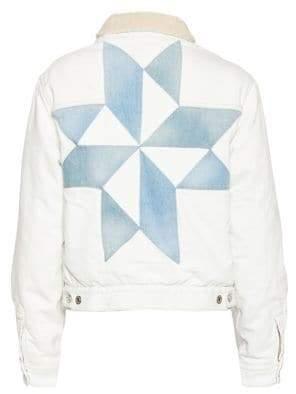 Etoile Isabel Marant Lynda Faux Shearling Collar Graphic Denim Jacket