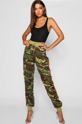 boohoo Tall Side Stripe Camo Jogger