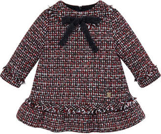 Carrera Pili Long-Sleeve Ruffle & Fringe Tweed Dress, Size 2-6
