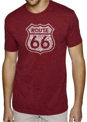Blend of America LOS ANGELES POP ART Los Angeles Pop Art Men's Big & Tall Premium Word Art T-Shirt - Get Your Kicks on Route 66