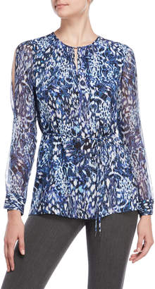 Elie Tahari Lilo Printed Silk Tunic Blouse