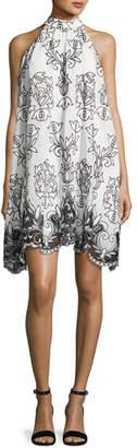 Badgley Mischka Platinum Sleeveless Voile Fleur de Lis Cocktail Dress, White/Black