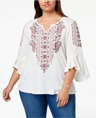Style&Co. Style & Co Plus Size Embroidered Angel-Sleeve Top