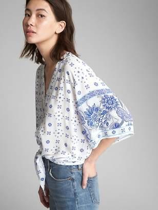 Gap Short Kimono Sleeve Print Blouse