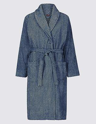M&S Collection Luxury Pure Cotton Printed Dressing Gown