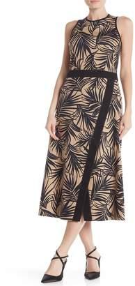 BOSS Denura Palm Frond Woven Midi Dress