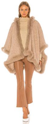 Alice + Olivia Kamala Oversize Poncho With Fur