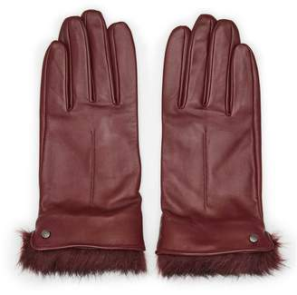 Reiss Dalton - Dents Leather And Faux-fur Gloves in Ox Blood