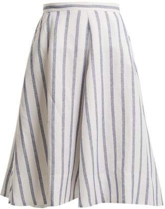 Thierry Colson Biarritz Spunga striped linen-blend skirt