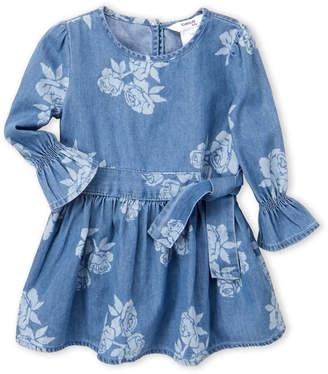 Bebe Baby (Infant Girls) Floral Belted Chambray Dress