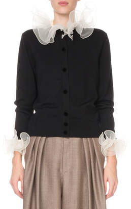 Marc Jacobs Crewneck Cardigan with Organza Collar & Cuffs