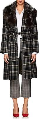 Pas De Calais Women's Fur-Collar Plaid Wool Coat