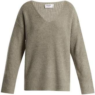 Frame Oversized V-neck ribbed-knit sweater