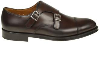 Doucal's Shoe With Double Buckle In Leather Color Of Dark Brown