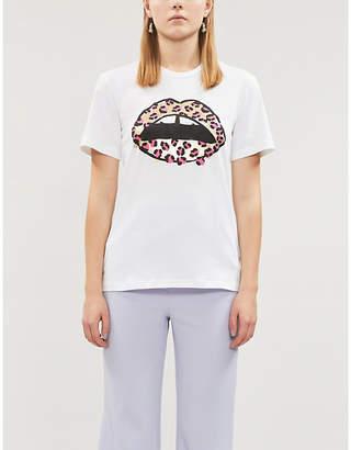 Markus Lupfer Anna leopard-print lip cotton-jersey T-shirt