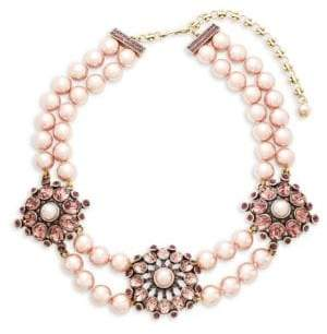 Heidi Daus Simulated Faux Pearl and Crystal Triple Station Beaded Necklace
