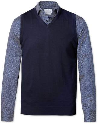 Charles Tyrwhitt Navy Merino Wool Sweater Vest Size XS
