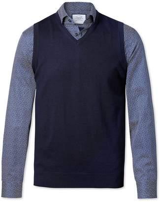 Charles Tyrwhitt Navy Merino Wool Sweater Vest Size XXL
