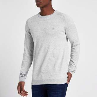 River Island Mens Grey slim fit crew neck sweater