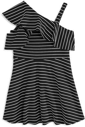 Bardot Junior Girls' Senna Striped Asymmetrical Dress