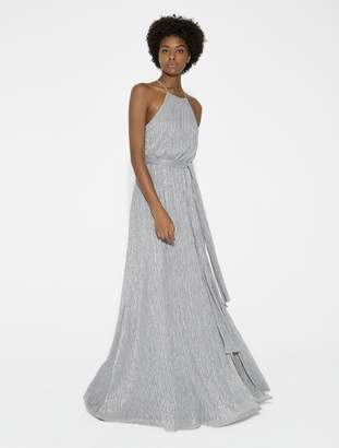 Halston Flowy Lurex Jersey Gown with Sash
