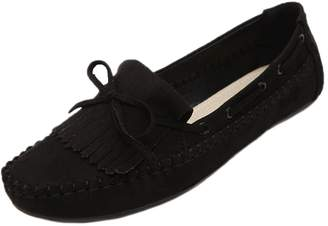 Women Moccasins HooH Moc Toe Loafers Bowknot Fringes Flats Boat Shoes