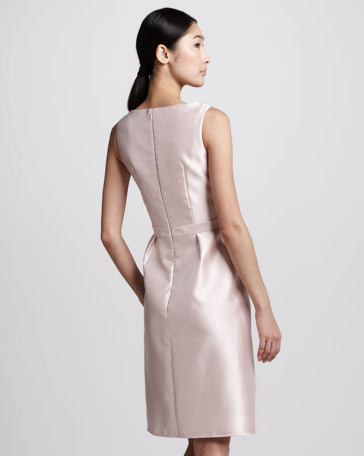 Carmen Marc Valvo Tulip-Neck Cocktail Dress