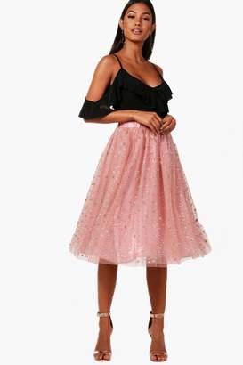 boohoo Nichole Tulle Star Midi Skirt
