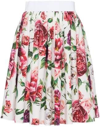 Dolce & Gabbana high waisted peony print cotton skirt