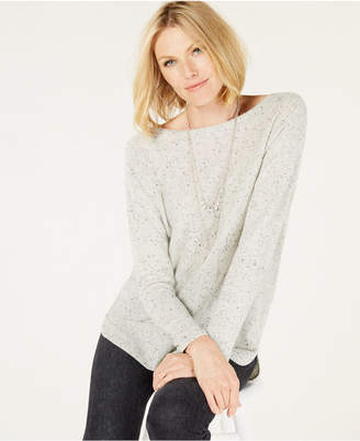 Charter Club Pure Cashmere Donegal Sweater with a Shirttail Hem