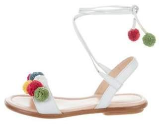 Aquazzura Mini Girls' Pom-Pom Leather Sandals
