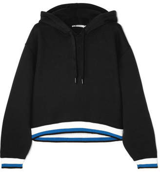 Alexander Wang Cropped Striped Cotton-blend Hoodie - Black