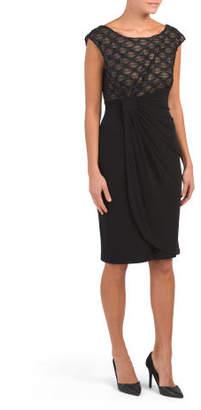 Wrap Style Dress With Eyelash Bodice
