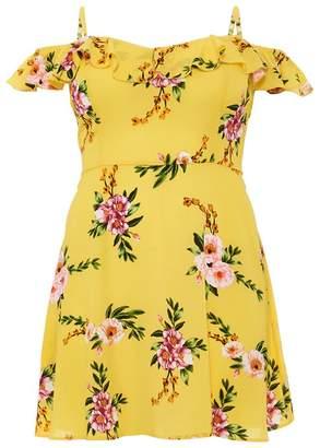 Quiz Curve Yellow Floral Print Skater Dress