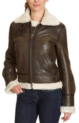 Schott NYC Women's LCW1257 Leather jacket Long Sleeve Jacket,14 (Manufacturer Size: X-Large)